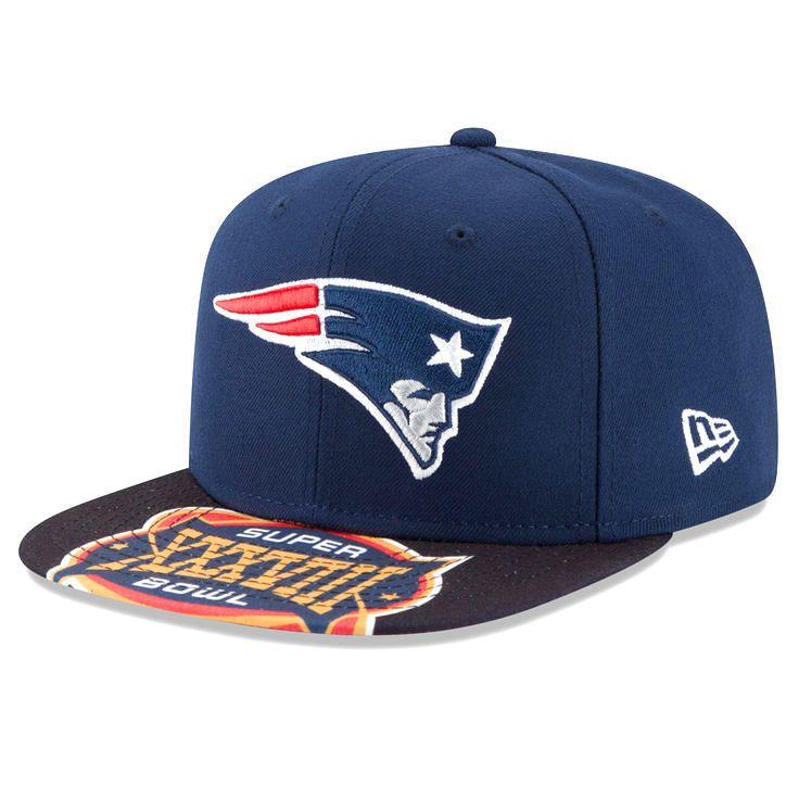 New England Patriots New Era Super Bowl XXXVIII On The Fifty Jumbo Vize Original Fit 9FIFTY Adjustable Hat - Navy - $25.59