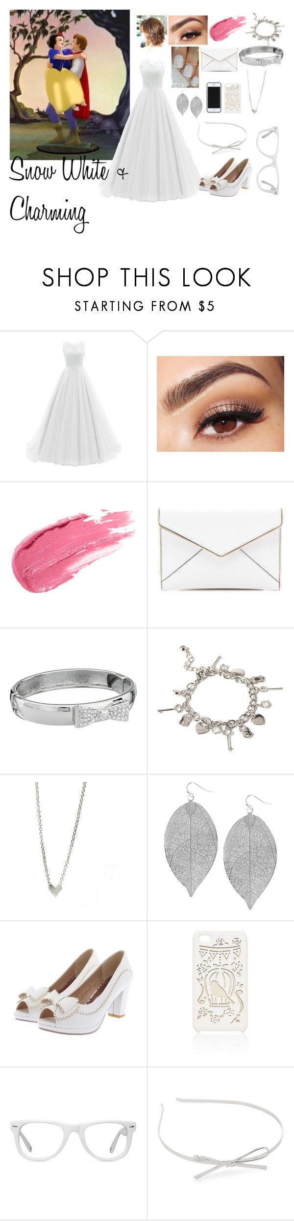 """""""Prom Night Snow White and Charming"""" by blackest-raven ❤ liked on Polyvore featuring Lancôme, Rebecca Minkoff, Betsey Johnson, Forever 21, Humble Chic, Gizmal Boots, Kate Spade Saturday, Forever New, Muse and Kate Spade"""