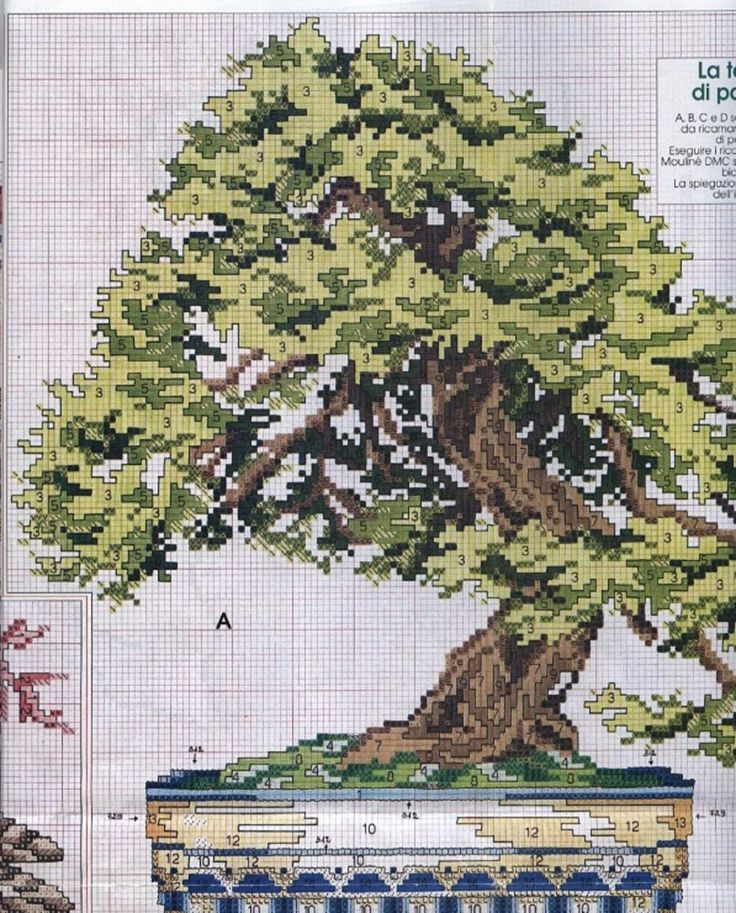 Borduurpatroon Bloemen&Planten Kruissteek *Cross Stitch Pattern ~Bonsai 1/2~