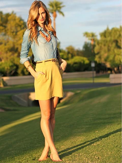 .: Fashion, Idea, Style Inspiration, Chambray Shirts, Yellow Skirts, Spring Summer, Outfit, Denim Shirts