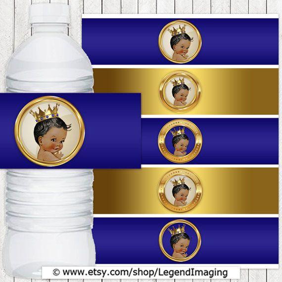 Etiquetas de las botellas de agua Príncipe étnica