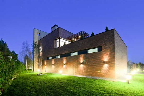 Apartments, Lighting Brick Wall Lamp Storey House Grass Plant Courtyard Garden Park Natural Chimney Decorator Design Inspiration Modern Architect Home Architects Decoration Material: Excellent, Kiev Residence Built With Locally Resourced Materials