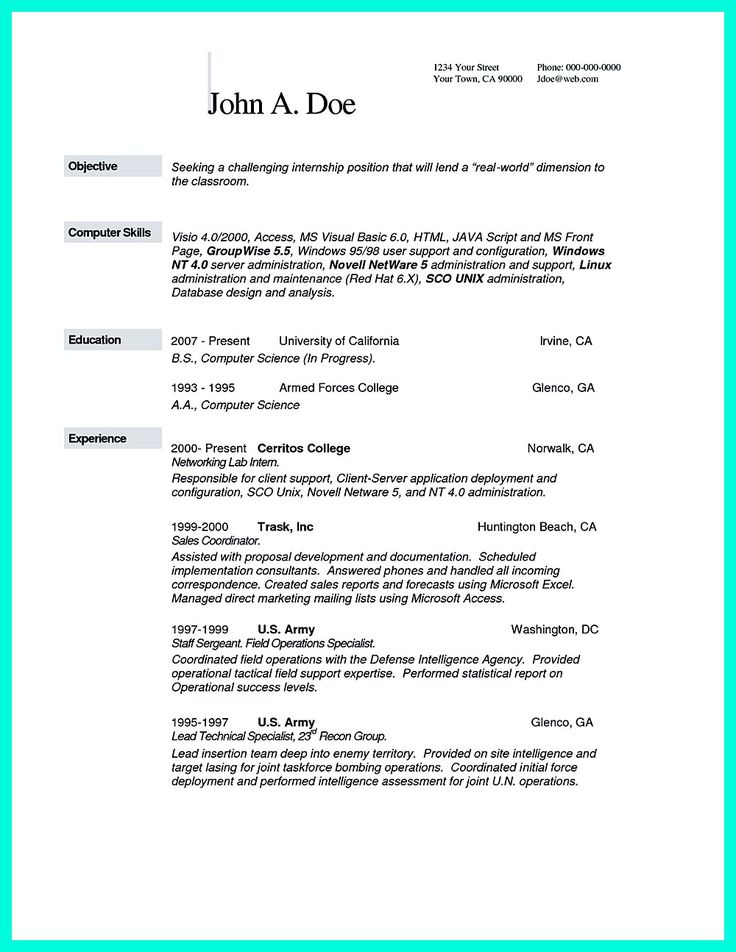 what you will include in the computer science resume depends on the training as well as