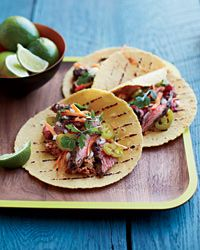 Marinated Skirt Steak Tacos with Pecan-Chipotle Salsa Recipe on Food & Wine