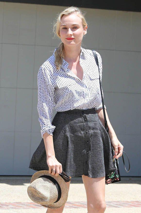 ダイアン・クルーガーはこう着こなす♡ドットシャツとフレアスカートでガーリー♡人気・おすすめ・トレンドのフレアミニスカートのモテコーデ一覧♡