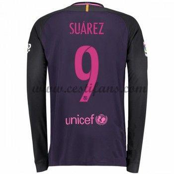 Barcelona Fotbalové Dresy 2016-17 Suarez 9 Venkovní Dres Dlouhým Rukávem