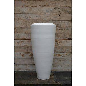 Bora Bora Vaas 90cm Wit, grote aardewerk vaas.
