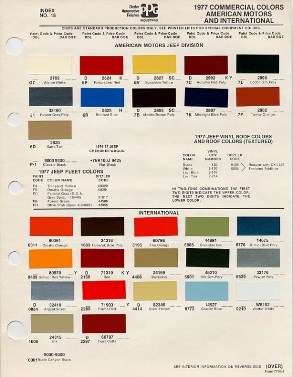 Auto Paint Codes 1977 Amc Paint Chips Guestbook Auto
