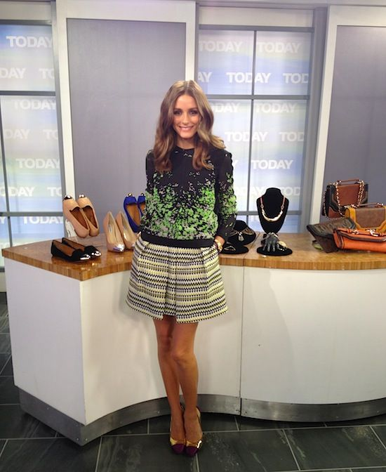 Olivia Palermo at the Today Show wearing a top by Pringle of Scotland, a skirt by Milly, and Giambattisa Valli shoes.