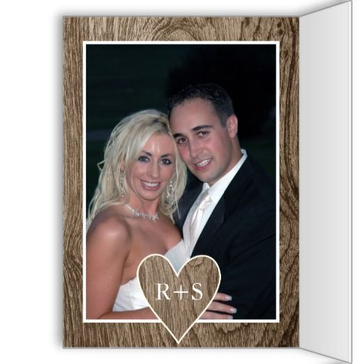 Heart With Initials On Wood Wedding Thank You Card