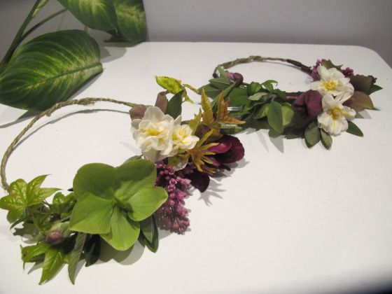 Narcissus, Hellebore and Lilac flower crowns by Molly Oliver Flowers