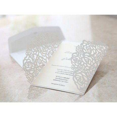 Vintage Wedding Invitation - Victorian Lace Laser cut invitation