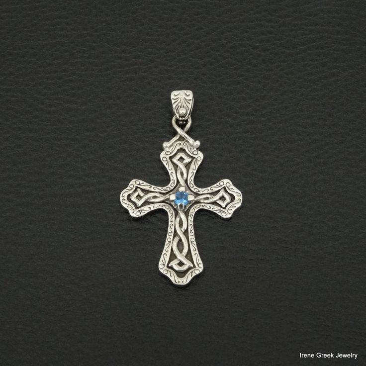 BLUE TOPAZ CZ BYZANTINE STYLE 925 STERLING SILVER GREEK HANDMADE ART CROSS #IreneGreekJewelry #Pendant