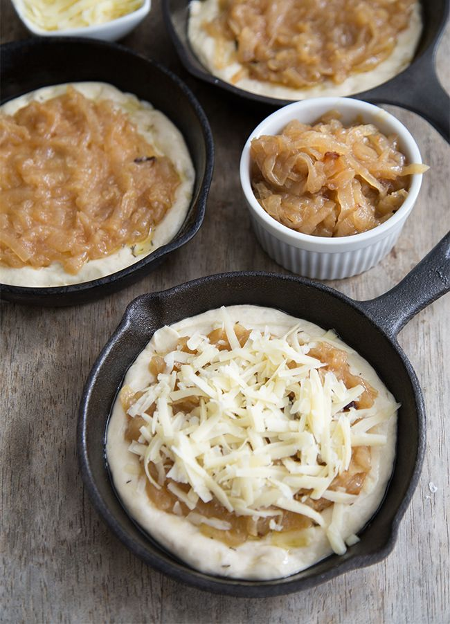 French Onion Mini Pizzas, made in mini cast iron skillets. Plus a shockingly easy way to bake caramelized onions in the oven in a cast iron dutch oven! From the little epicurean.