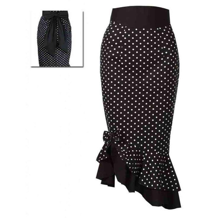 Rockabilly-Clothing: black and white polka dot ruffle skirt