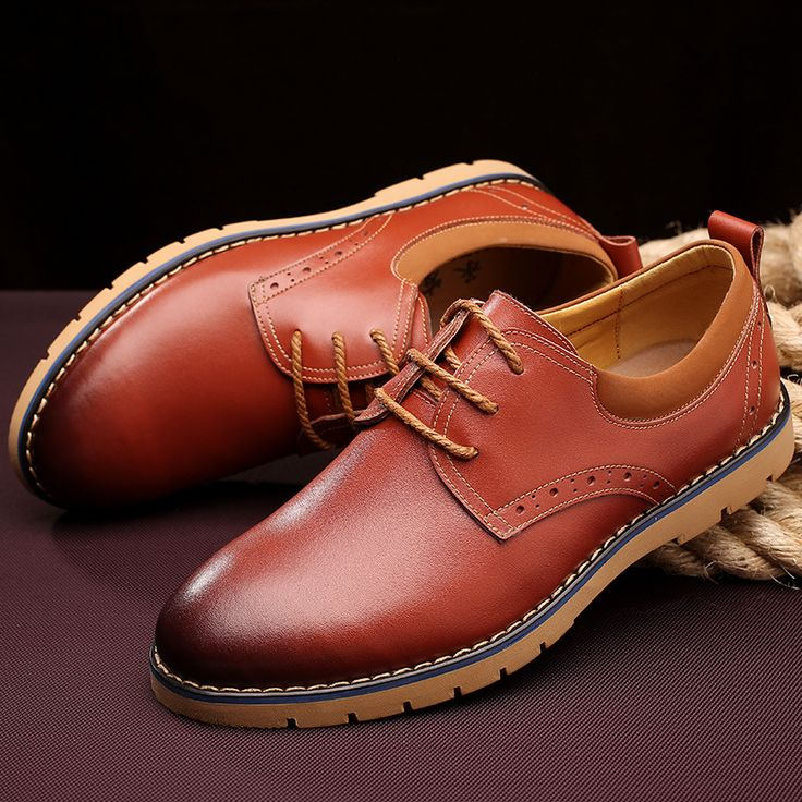 2015 New Men Leather Shoes Oxfords Dress Brogue Lace Up Genuine Leahter Casual Boots Gentalmen Business Shoes