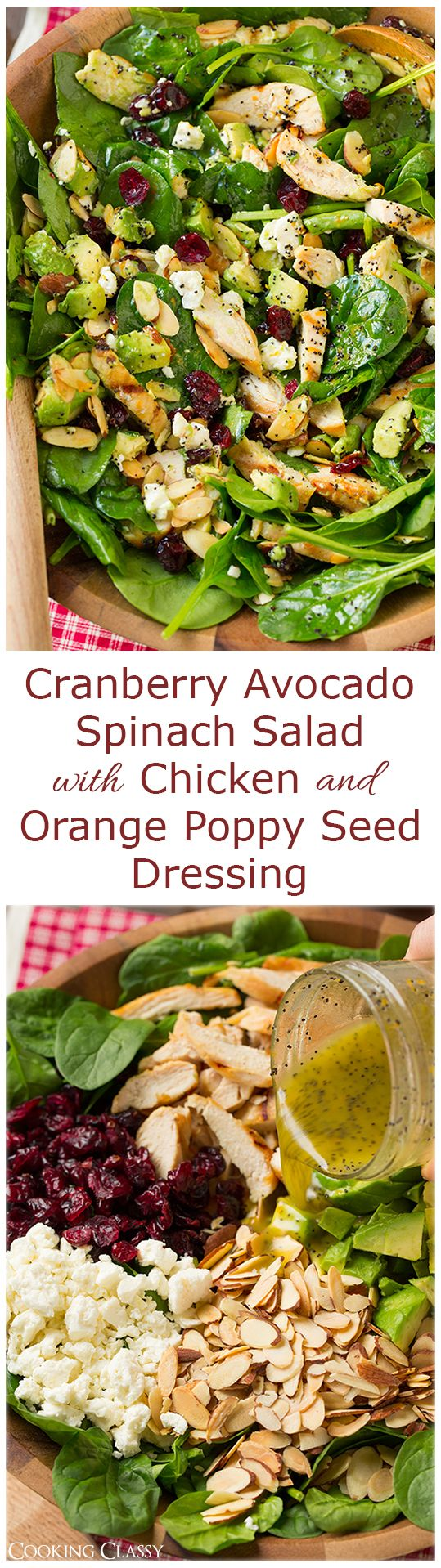 Cranberry Avocado Spinach Salad with Chicken and Orange Poppy Seed Dressing - this flavorful salad is one of my new favorites! LOVED it!! Easy adjusted to paleo.