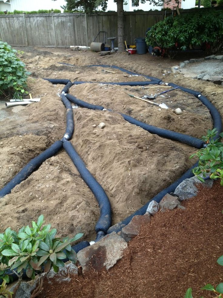 French drain install yelp landscaping ideas for Yard drainage slope