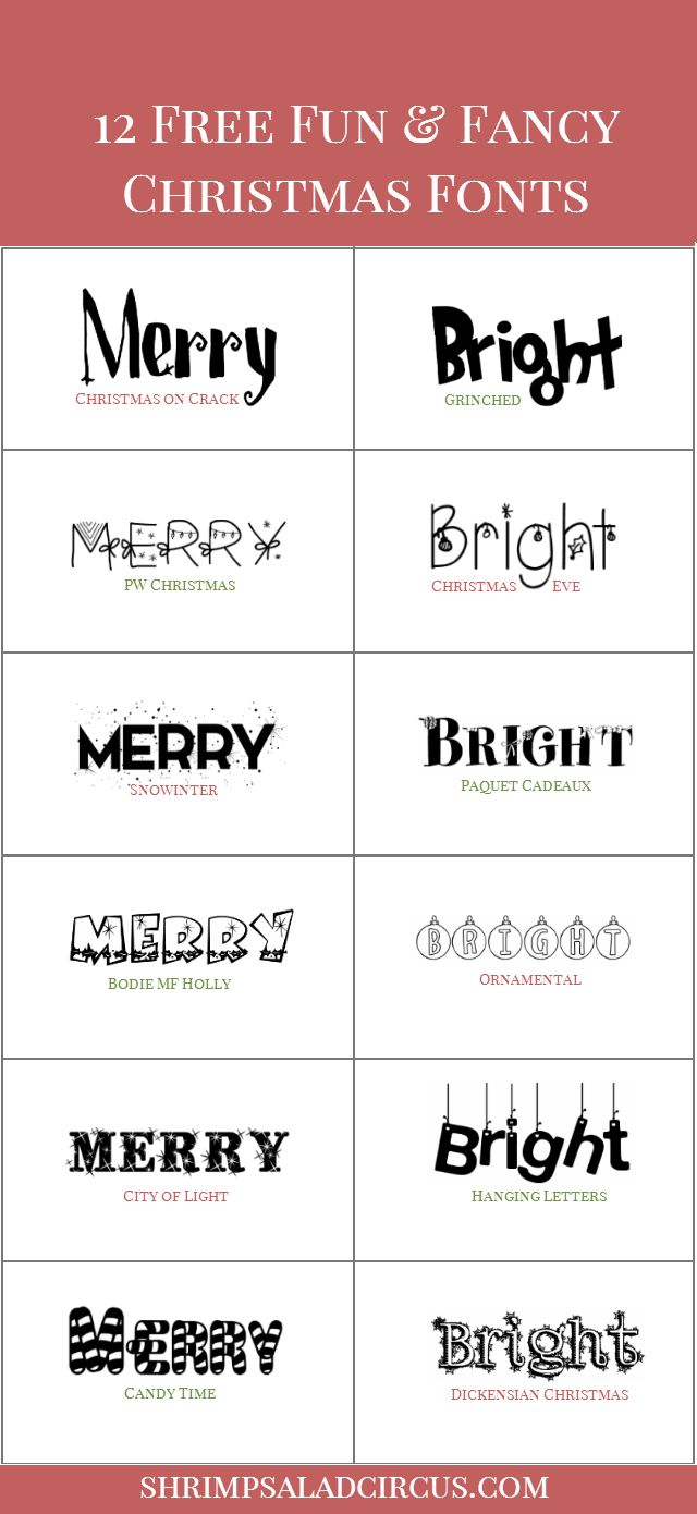 Download these 12 free Christmas fonts for all your holiday projects, from blog posts to holiday cards and digital scrapbooking projects!
