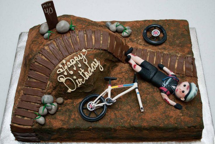 Mountain Bike Crash Birthday Cake - Buttercream base and fondant details.