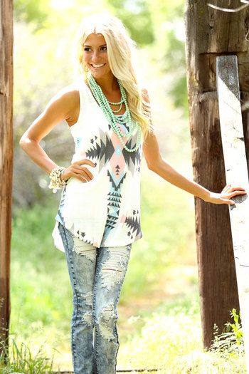 Online boutique. Best outfits. Aztec Royal Tank - Modern Vintage Boutique