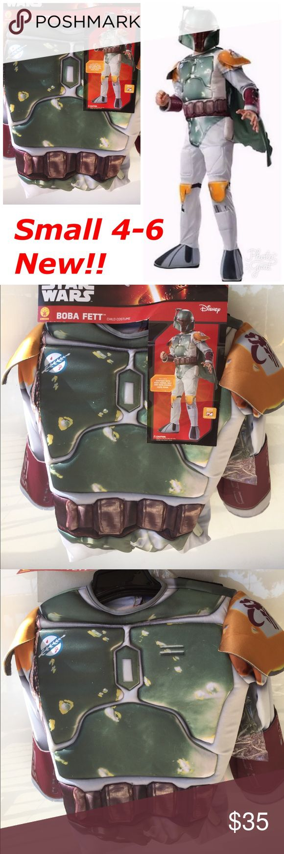 Boba Fett Star Wars Boys Halloween Costume Small Includes: -Jumpsuit with body armor and shoe covers & belt  -Mask -Cape   Size Small 4-6   Item is brand new! Costumes Halloween