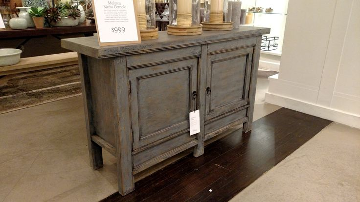 Pottery Barn Molucca Media Console Table Blue Distressed Paint Pottery Barn Furniture