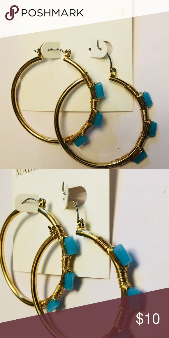 NWT Madison Parker Blue Stone Hoop Earrings NWT Madison Parker Blue Stone Hoop Earrings Madison Parker Jewelry Earrings