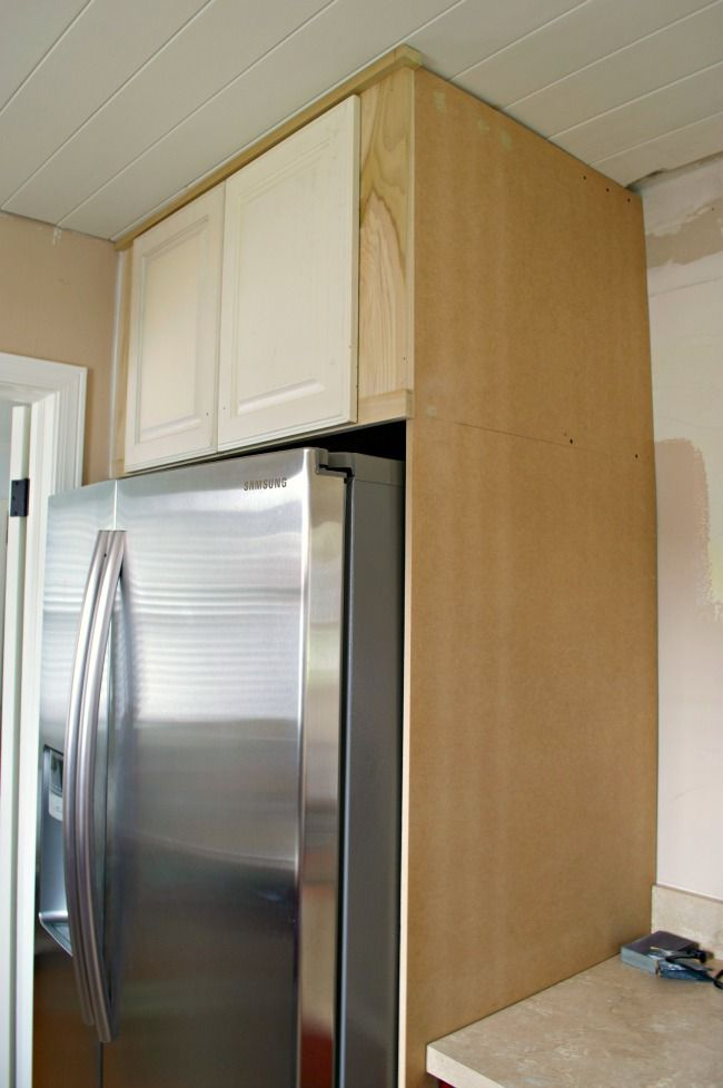 How To Build A Diy Refrigerator Cabinet Refrigerator Cabinet Diy Cabinets Build Diy Kitchen