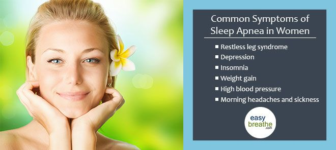 Common Symptoms of Sleep Apnea in Women - If You Think You Are at Risk Take a Home Sleep Test... #sleepapnea #easybreathe