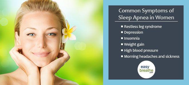 Common Symptoms of Sleep Apnea in Women - If You Think You Are at Risk Take a Home Sleep Test... #sleepapnea #easybreathe