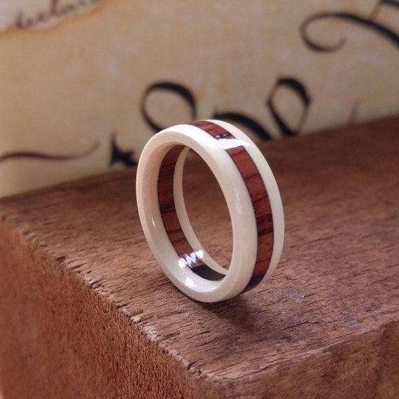 Wedding Ring - Rosewood - Men's Wooden Rings -  Wooden Promise Ring  - Woman's  wood rings - American Holly - Burmese Rosewood