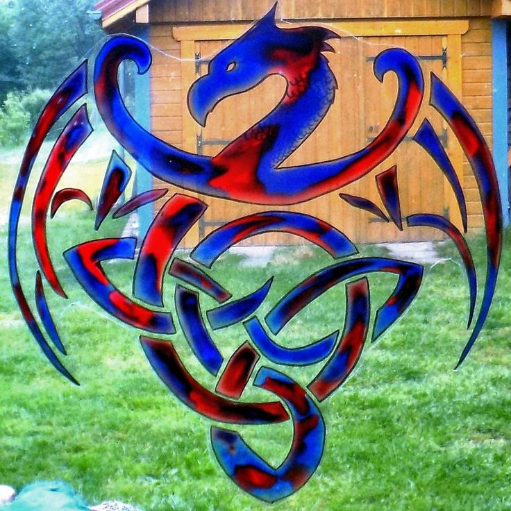 WICOART WINDOW COLOR STICKER CLING FAUX STAINED GLASS CELTIC DRAGON SILHOUETTE