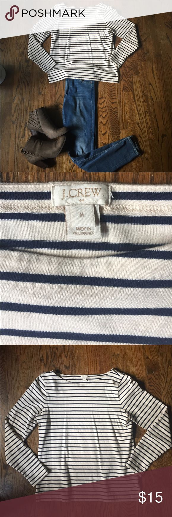 J. Crew Striped Boatneck Navy & cream striped J. Crew boatneck cotton shirt! About 2 in slits on either side of the body and long sleeves. Only worn once, super cute and ready for a new home! J. Crew Tops Tees - Long Sleeve