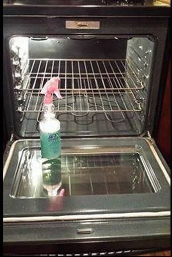 Spray this mixture on oven walls and racks and leave overnight - poof! clean. 2 oz. Dawn Dishwashing liquid 4 oz. Lemon Juice 8 oz. White Vinegar 10 oz. Water