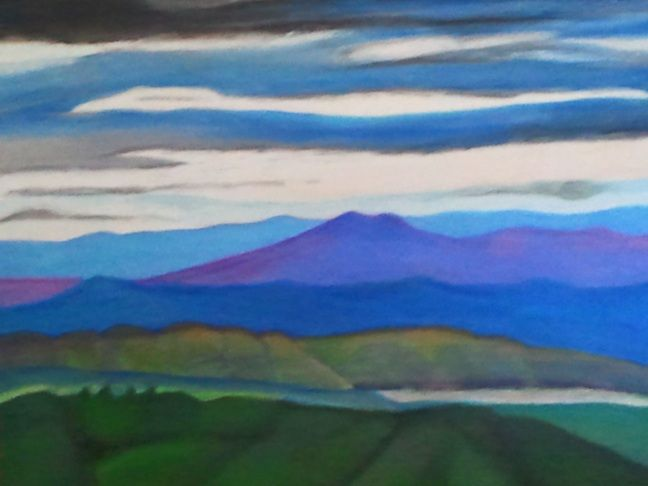 West view from Mt Tamborine Oil pastel on canvas 2013