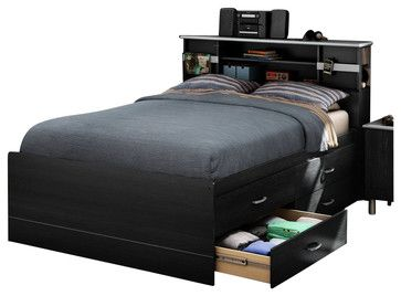 South Shore Cosmos Contemporary Full Bed Frame Only in Black Onyx - transitional - beds - Cymax