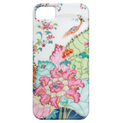 Damask antique porcelain china chinoiserie floral and bird vintage Hollywood regency preppy pattern Case Mate iPhone 5 5S case cover.