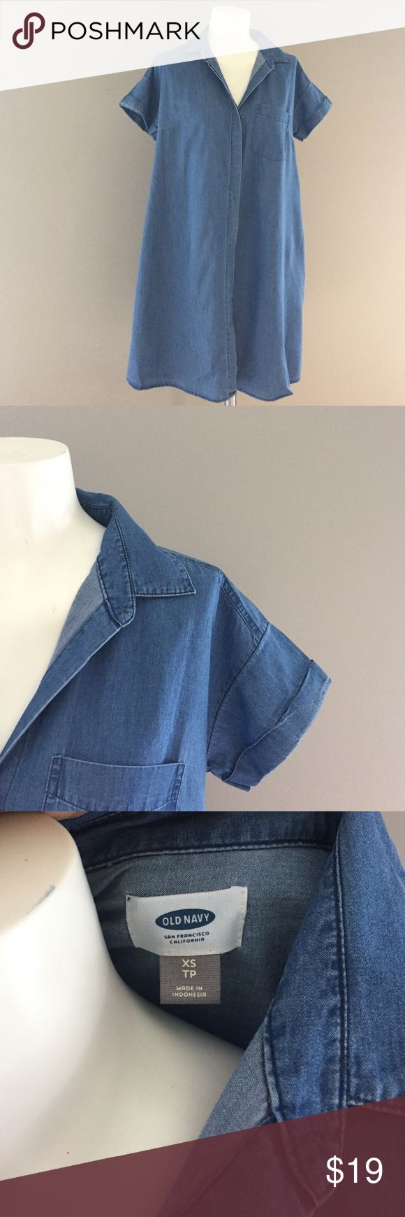 Denim chambray tent dress with pockets 100% cotton. Super comfy, roomy chambray dress. Tie a bandana around your neck and add booties or sandals to complete the look. Oh and IT HAS POCKETS! Old Navy Dresses Mini