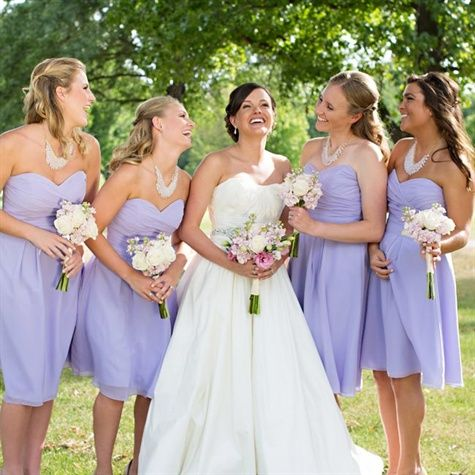 Lavender Bridesmaid Dresses, maybe a little darker but I like the short dresses.