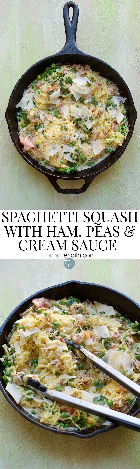 Spaghetti Squash with Ham, Peas & Cream Sauce #recipe A delcious #glutenfree alternative to pasta!