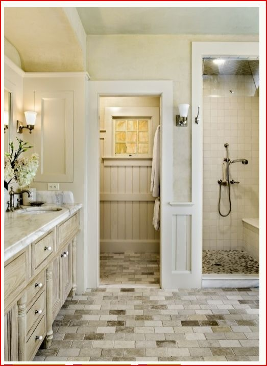 Love the wood paneling. The shower should be bigger - like a room, but in general this captures the feeling.