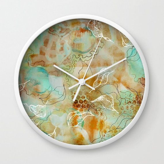 Abstract floral clock painted art clock aqua by NewCreatioNZ