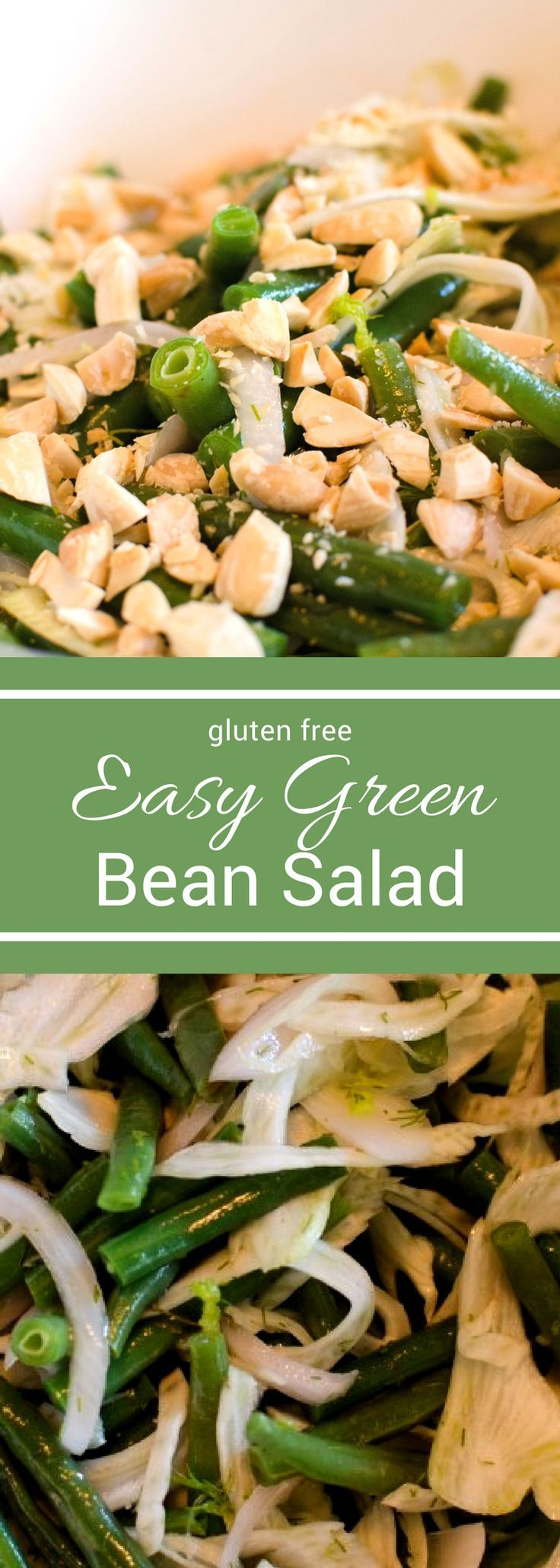 This easy green bean salad is the perfect way to lighten up your holiday menu. Instead of a heavy and mushy green bean casserole try this light and crunchy green bean salad! With fennel, pickled shallots, and almonds it's the perfect low carb side! #SundaySupper