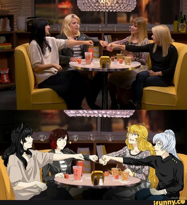 The voice actresses. Arryn (Blake,) Lindsay (Ruby,) Barbara (Yang,) and Kara (Weiss) on the Always Open podcast. <3