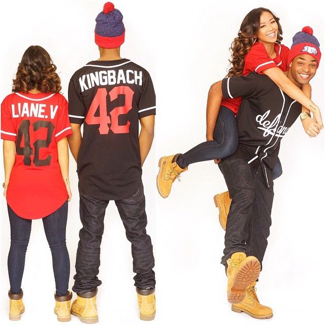 Liane V King Bach His Her Couple Love Vine Relationship Timberland Boots Football Shirt Matching Outfits Bobble Hat Cute