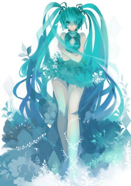 Hatsune Miku. Look at her hair!!! <3