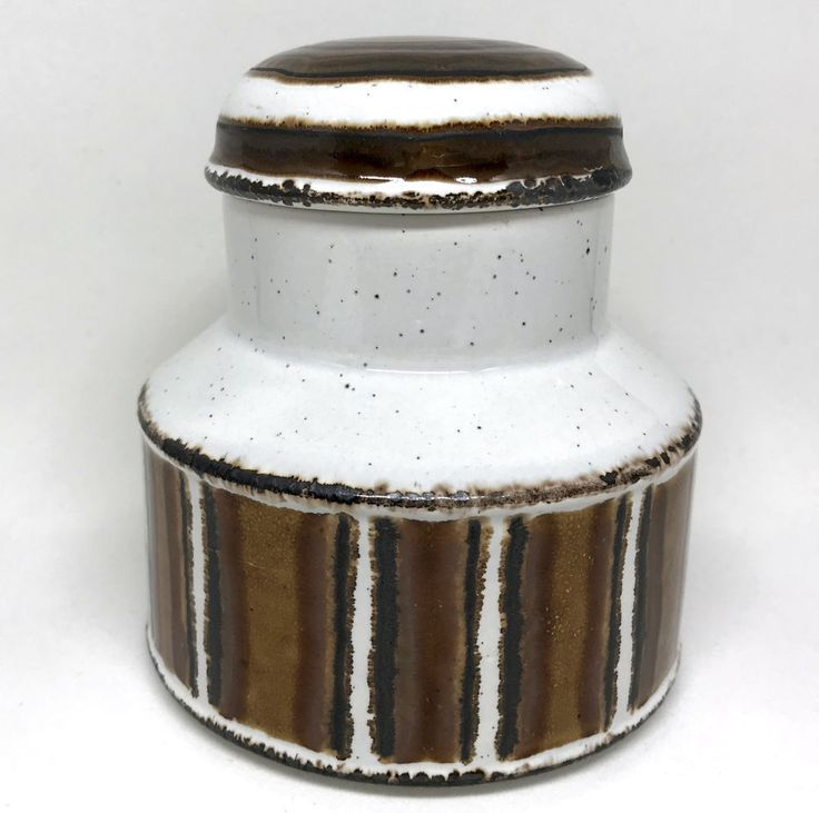 Midwinter Stonehenge #Sugar Bowl w Lid #Earth Pattern 1970s Unused 4in Signed Vtg #Midwinter #MidCenturyModern