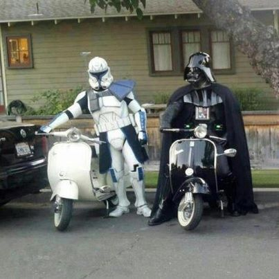 Darth Vader & Boba Fett ride scooters? Who knew?!  :)