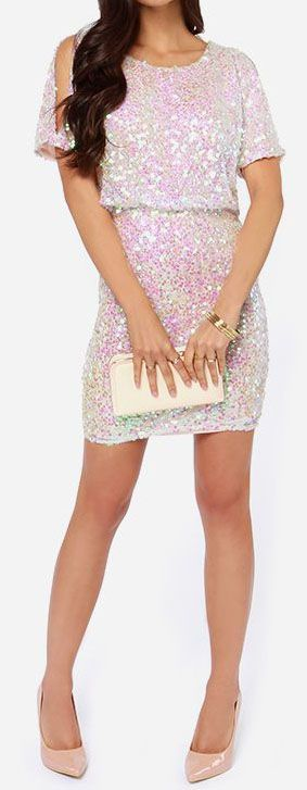LuLu*s Exclusive! It's time to upgrade your look to something new and flashy like the Make Me Over Cream Sequin Dress! Iridescent sequins ca...